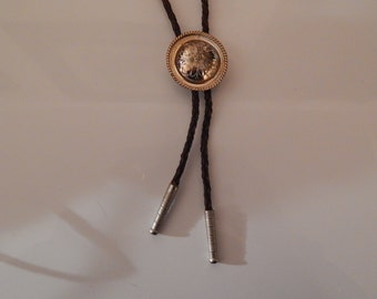 Brown Leather Bolo with Silver Slider