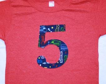 Boys 5th Birthday Number 5 Shirt in Navy Emergency Vehicles - Short sleeve heathered red shirt