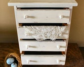 Shabby Little 4 Drawer Chest of Drawers, jewelry box, trinkets, accessories, home decor