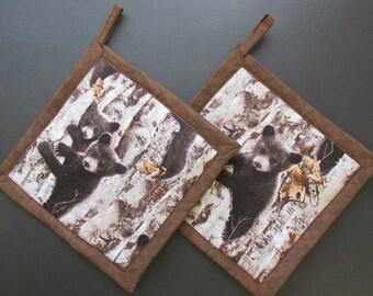 Bear Cubs Potholders, Bear Pot Holders, Bear Theme Kitchen, Bear Kitchen Decor, Bear Hot Pads, Bear Hot Mats