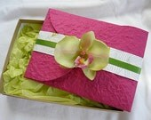 Boxed Orchid Beach Tropical Wedding Invitations, green orchid, tropical flower invitation, invite