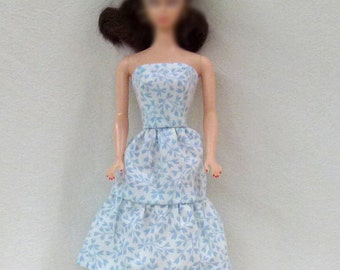 """11.5"""" Fashion Doll Dress in Blue and White Handmade"""