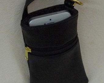 Cell Phone Pouch Faux Leather Ultraleather Large Pouch in pebbly black