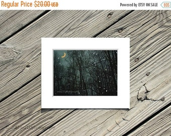 40% OFF SALE Moon Photograph Night Sky Dark Trees and Rain With a Navy Blue Sky Banana Moon Photography 5x7 inch Print Matted to 8x10 inches