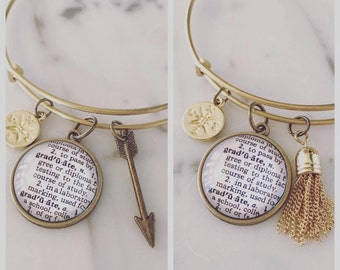Graduation Definition Charm Bracelet - Personalized Definition Jewelry - High School Grad - College Grad - Stacked Bangle