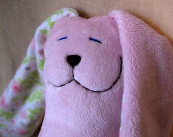 Pink Floral Minky Snuggle Bunny baby toy stuffed animal lovey