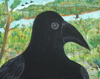 """Crow Art Painting - Original Raven Black Bird in Country Landscape with River Artwork - Surreal Piggyback Art - 18""""x24"""" on Stretched Canvas"""