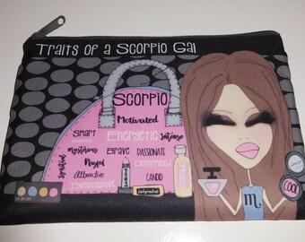 Makeup Bag  6x9 -Traits of a Scorpio Gal