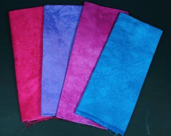 hand dyed fabric - 4 fat quarters - combo #5