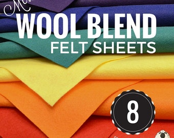 8 or 16 Merino Wool Felt Sheets, Wool Felt Bundle, Wool Blend Felt, Wool Felt Fabric, Felt Sheets, Craft Felt Sheets, Choose your Colors
