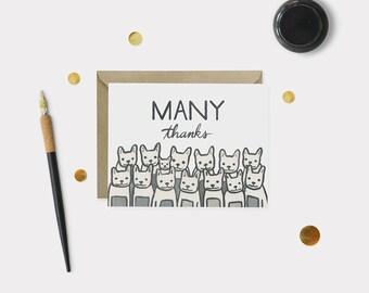 French Bulldog Thank You Card - Thank You Card - Many Thanks Card - Frenchie Card - Frenchie Thank You Card - Greeting Card