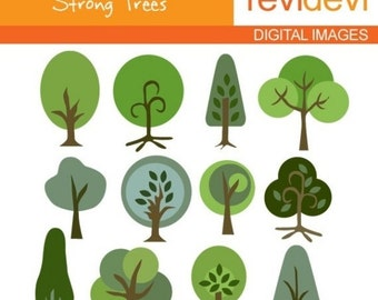 30% OFF SALE Tree clipart / Strong Trees Clip art - Commercial use digital clipart - graphic images