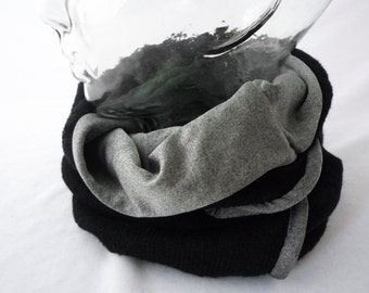 Soft Black Knit Wool Cowl with Pewter Lining : Neck Cozy, Circle Scarf, Womens Winter Fashion, Gift for Her, Gift for Him, Ready to Ship