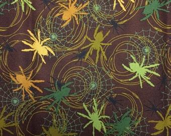 Spider Fabric Halloween Spiders - 1 yard Robert Kaufman - brown background