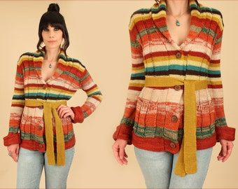 Vintage Wrap Sweater Space Dyed 70's // Tribal Southwestern Cardigan // With Belt Belted Bell Sleeve // HiPPiE BoHo S/M