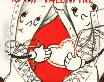 Vintage Digital Greeting Card: Anthropomorphic Roller Skates Valentine - Digital Download, Printable, Scrapbooking, Image, Clip Art