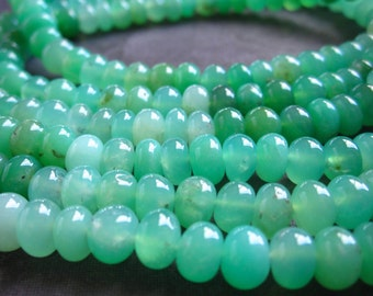 Chrysoprase beads rondelles 6mm X 4mm - smooth polished semiprecious stone