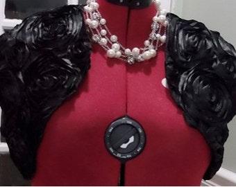 Black/Black Rosette Satin Bolero/Shrug/Crop Jacket Fully Lined-Short Sleeve-Formal/Wedding/Bridal