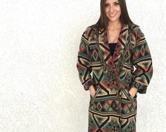 Vintage Southwestern Fringe Blanket Coat