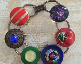 Whimsical Vintage Junk Bracelet - OOAK - upcycled recycled bits and baubles - buttons, cherries, glitter glass, fruit - Mini Collage