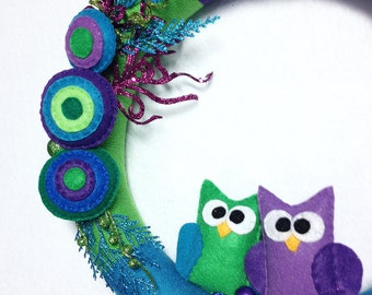 Yarn Wrapped Wreath, Owl Wreath, Front Door Decoration, Peacock Green and Blue, Entryway Decor
