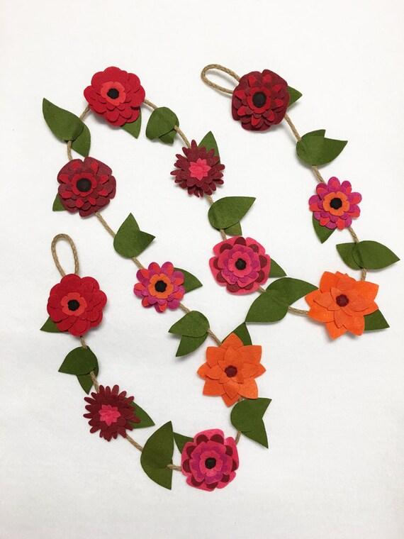Flower Garland, Autumn Blooms, Felt Flower Garland, Rustic Twine, Room Decoration, Nursery Decor, Wedding, Party Decoration