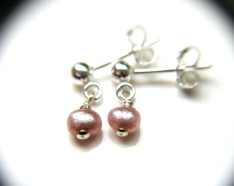 Small Pearl Earrings . Pink Pearl Studs . Sterling Silver Post Earring . Pearl Post Earrings Dangle . Tiny Pink Posts - Novae Collection