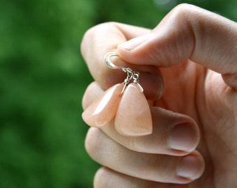 Peach Stone Earrings . Geometric Earrings . Triangle Earrings . Chunky Earrings . Sterling Silver Gemstone Jewelry - Magnolia Collection
