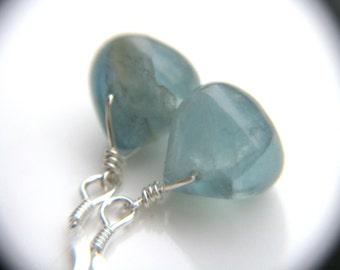 Blue Fluorite Earrings . Sterling Silver Wire Wrap Earrings . Natural Gemstone Teardrop Earrings . Blue Dangle Earrings - Chakra Collection