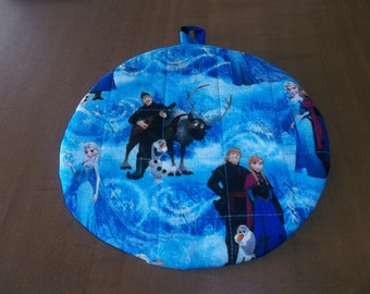 Disney Frozen Characters Hot Pad or Pot Holder Quilted Cotton Fabric Double Insulated Trivet 9 Inches