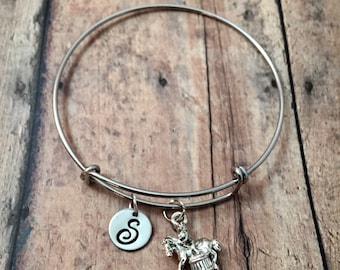 Barrel racing initial bangle - cowgirl jewelry, rodeo jewelry, gift for barrel racer, horse rider initial bangle, country western jewelry