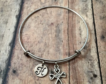 Cross initial bangle - cross jewelry, religious jewelry, christian bracelet, silver cross bracelet, gift for confirmation, cross bangle