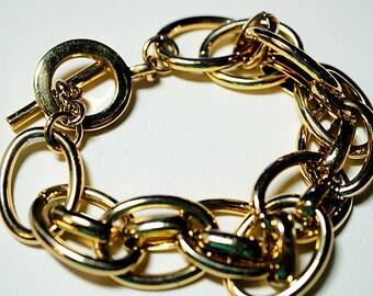 Lauren Bracelet est. 1967, Vintage Gold Large Link Bracelet, 7 inch Bracelet