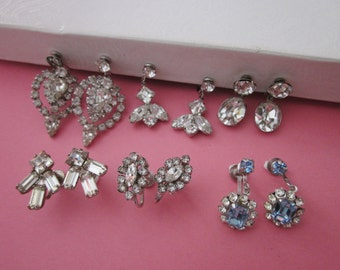 Rhinestone Earrings DeStash 6 pairs Screwbacks