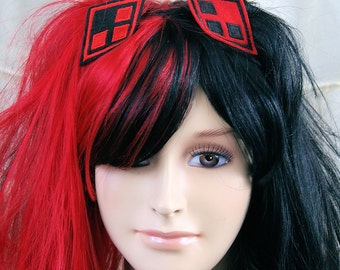 Harley Quinn Red Black Diamonds Embroidered Hair Snap Clip MTCoffinz (2 pieces)