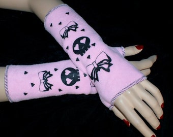Skulls and Bows Pink Fleece Arm Warmers MTCoffinz --CLOSEOUT SALE - Ready to Ship