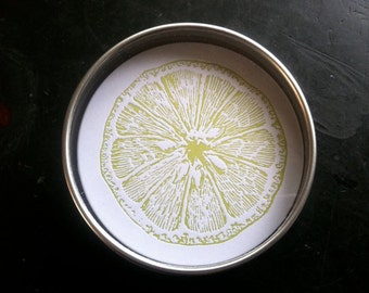 LIME green letterpress coasters - Set of 10