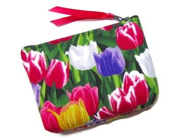 Coin purse, Small coin purse, Small zippered coin purse, Zipper coin purse, Wallet, Tulip garden