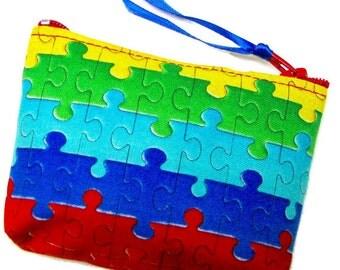 Coin purse, Mini coin purse, Small coin purse, Small zippered coin purse, Zipper coin purse, Wallet,  Autism logo, Puzzle