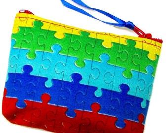 Coin purse, Small coin purse, Small zippered coin purse, Zipper coin purse, Wallet,  Autism logo, Puzzle