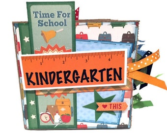 Kindergarten Kid Paper Bag Scrapbook -  Mini School Scrapbook - School Paper Bag Photo Album