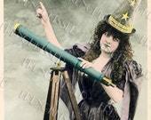 Halloween Witch Astrology Mage Astronomy Antique French Postcard Instant Download