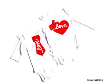 Love Tie & Heart...Fabric Iron On Appliques...Three Tie Sizes Available...Twins/Siblings