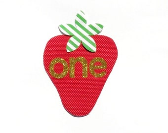 Strawberry...First Birthday...One...Gold Glitter...Fabric Iron On Appliques