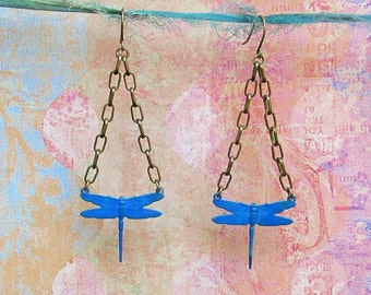 dragonfly earrings blue chain dangle patina nature jewelry
