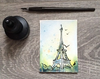 Paris Eiffel Tower Architecture ACEO original watercolor and ink painting
