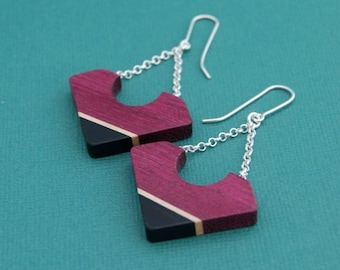 50 % off Deep Purple earrings - sterling silver purpleheart, maple and ebony wood dangling earrings