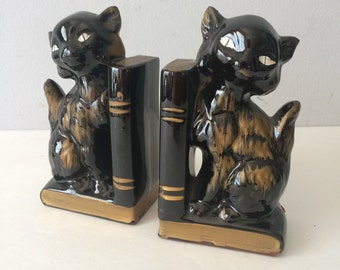 1950's Kitty Bookends Redware Ceramic Black and Gold Japan Statue