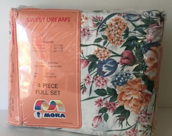 Vintage Floral Sheet Set New Old Stock 1970's-80's Sweet Dreams Full Bedding Set Autumn Floral Mora No Iron Made in soain In Packaging