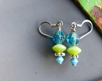 Turquoise, Lime and Silver Earrings